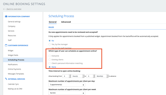 Change your settings to disable online appointment scheduling